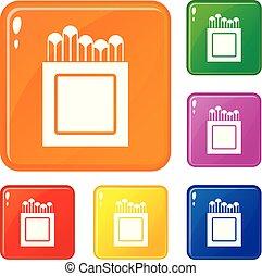 couleur, crayons, vecteur, ensemble, icônes