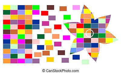 couleur, cube, fleur