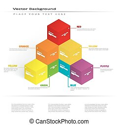 couleur, cubes, illustration, vecteur, 3d