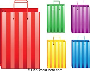 couleur, dépouillé, achats, vente, sacs