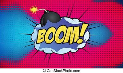 couleur d'arrière-plan, texte, contre, multi, bulle, parole, boom