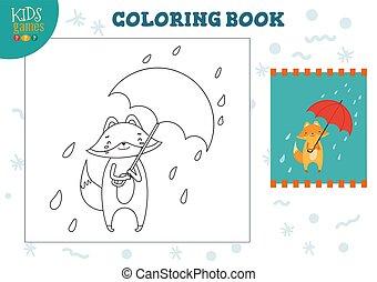 couleur, dessin animé, rigolote, vecteur, renard, exercise., parapluie, illustration, image