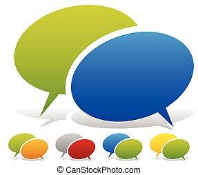 couleur, deux, chevaucher, combinaisons, bulles, parole, parler, plus