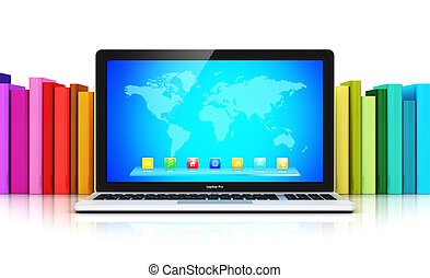 couleur, devant, ordinateur portable, livres, rang