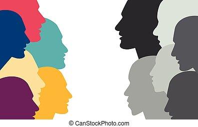 couleur, dialogue., tête, divers, gens