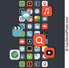 couleur, différent, apps, icônes