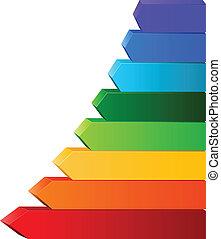 couleur, différent, flèches
