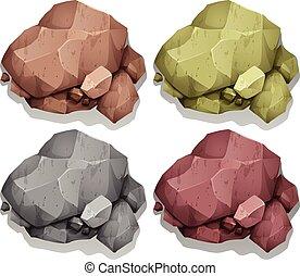 couleur, différent, naturel, rochers