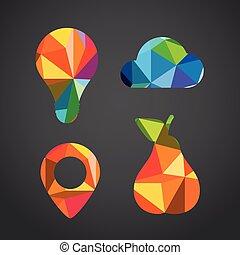 couleur, différent, triangles, icônes