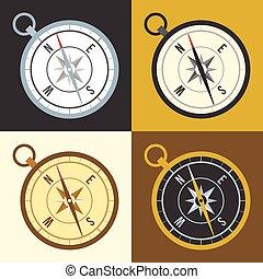 couleur, différent, vecteur, ensemble, compas