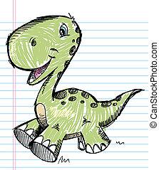 couleur, dinosaure, croquis, vecteur, griffonnage