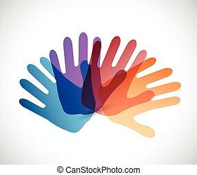 couleur, diversité, conception, illustration, mains