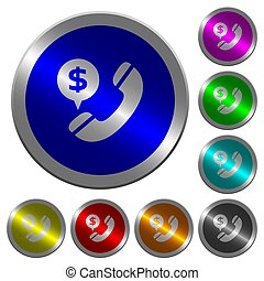 couleur, dollar, commercial, boutons, appeler, coin-like, lumineux, rond
