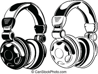 couleur, drawings., headphones., une