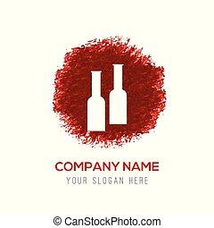 couleur eau, éclaboussure, -, bouteilles, icône, cercle, rouges, boisson
