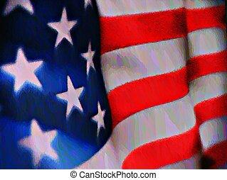 couleur eau, américain, usa, -, drapeau