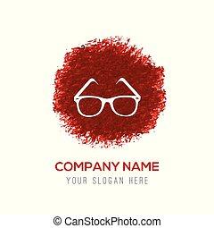 couleur eau, lunettes, éclaboussure, -, icône, cercle, rouges
