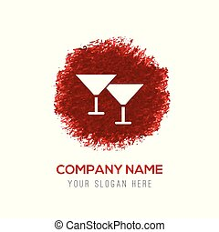 couleur eau, lunettes, cocktail, éclaboussure, -, icône, cercle, rouges