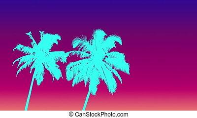 couleur, eau, paumes, style, 80s, deux, gradient, ciel