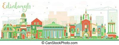 couleur, edimbourg, résumé, horizon, bâtiments.