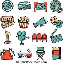 couleur, ensemble, cinéma, icônes