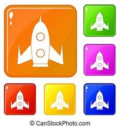 couleur, ensemble, fusée, icônes