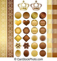 couleur, ensemble, ornements, chocolat