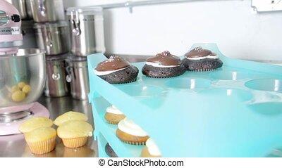 couleur, ensemble, petits gâteaux, stand