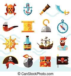 couleur, ensemble, pirates, icônes