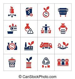 couleur, ensemble, recyclage, icônes