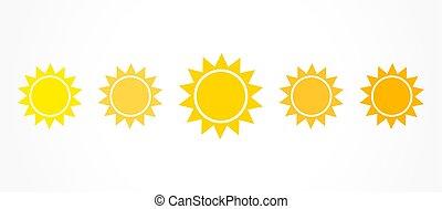 couleur, ensemble soleil, icônes