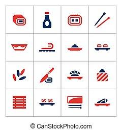 couleur, ensemble, sushi, icônes