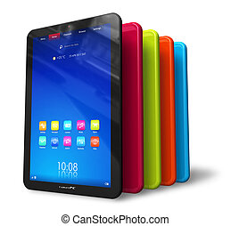 couleur, ensemble, tablette, ordinateurs