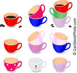 couleur, ensemble, tasses