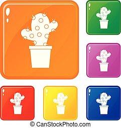 couleur, ensemble, vecteur, cactus, icônes