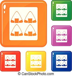 couleur, ensemble, vecteur, sushi, icônes