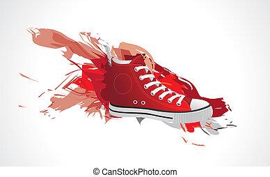 couleur, fôlatre chaussures, rouges, spla