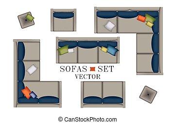 couleur, fauteuil, sommet, scène, table, usines, vue., ton, design., moquette, meubles, creator., set., salon, intérieur, plat, oreillers, coloré, tv, pouf, illustration., gris, sofas, vecteur, côté