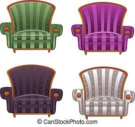 couleur, fauteuil, vecteur, composé