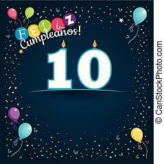 couleur, feliz, image, nombre, espagnol, bleu, espace, -, arrière-plan., cumpleanos, divers, blanc, ballons, heureux, formulaire, sombre, anniversaire, fond, confetti, carte, 10, langue, bougies, salutation, vecteur, write.