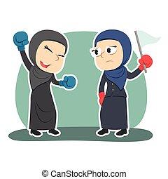 couleur, femme affaires, arabe, boxe, gagnant