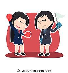 couleur, femme affaires, boxe, gagnant, chinois