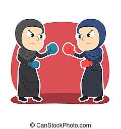 couleur, femme affaires, duel, arabe, boxe