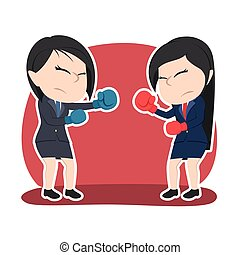 couleur, femme affaires, duel, boxe, chinois