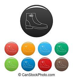 couleur, femme, ensemble, bottes, icônes