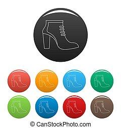 couleur, femme, ensemble, chaussures, icônes