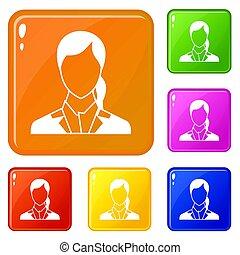 couleur, femme, ensemble, icônes