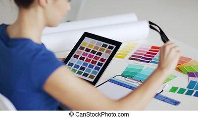 couleur, femme, sélection, échantillons
