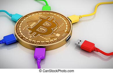 couleur, fils, connecté, usb, bitcoin