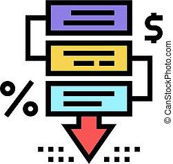 couleur, financier, illustration, icône, vecteur, crise, étapes